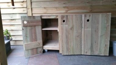 Steigerhouten buitenkeuken 3-deurs