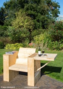 Steigerhouten tuinstoel met tafel